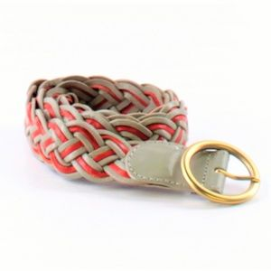 Leather Braided Belt with Brass Tone Round Buckle